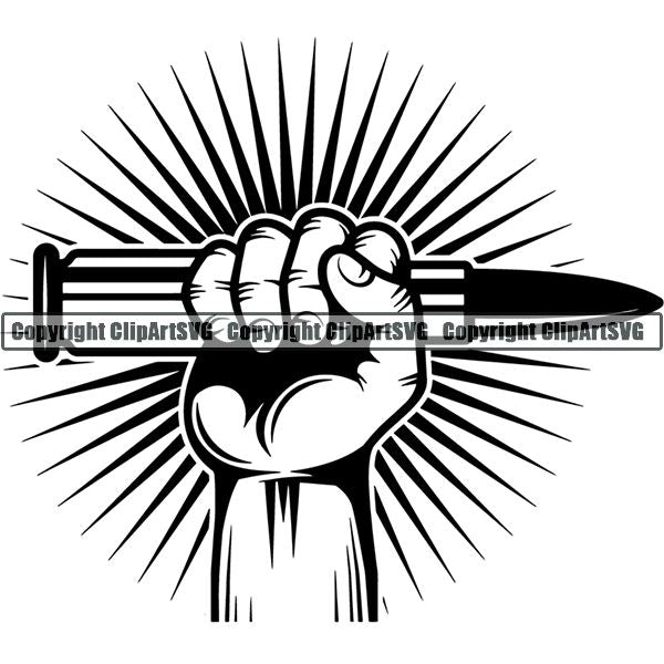 Military Weapon Gun Bullet Hand ClipArt SVG