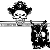 Pirate Sea Gangster Warrior Hat Patch Flag Skull ClipArt SVG