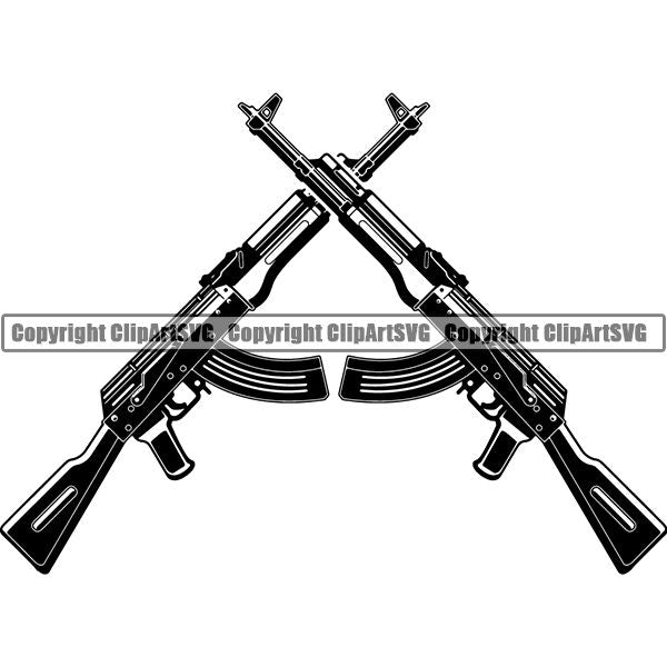 Military Weapon Gun Machine Assault Rifle AK-47 ClipArt SVG