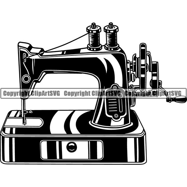 Tailor Seamstress Alterations Sewing Machine ClipArt SVG