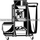 Maid Cleaning Service Housekeeping Housekeeper Cleaning Supply Cart ClipArt SVG
