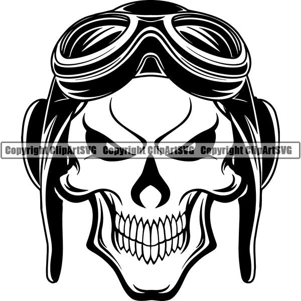 Transportation Airplane Pilot Hat Goggles Skull ClipArt SVG