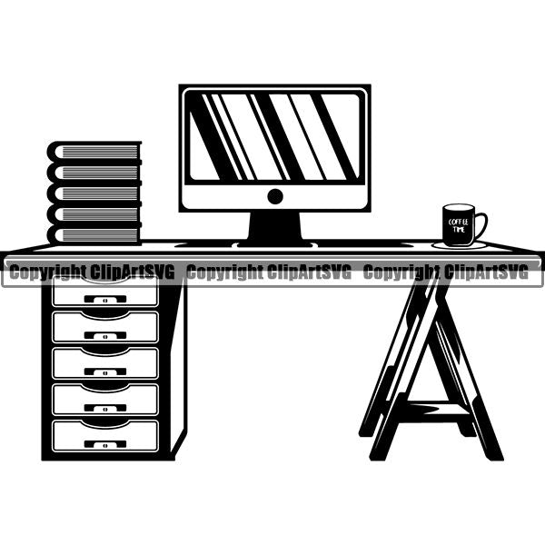 House Furniture Computer Desk ClipArt SVG