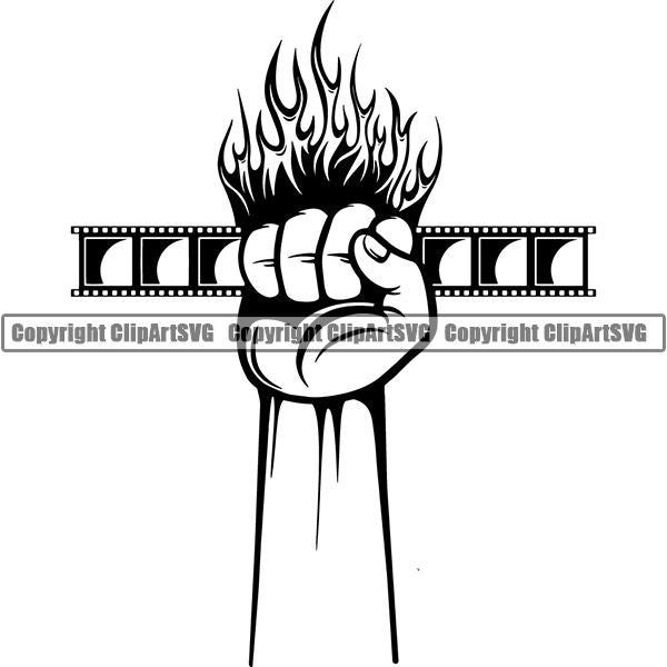 Acting Actor Movie Performer Performance Movie Reel ClipArt SVG