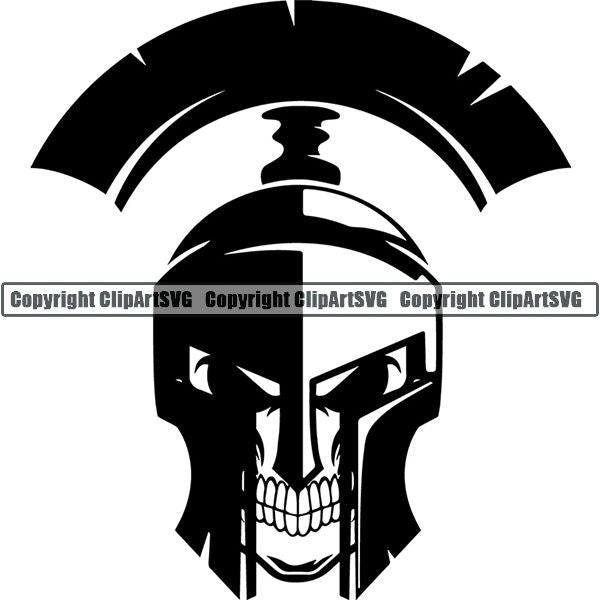 Spartan Warrior Gladiator Mask Skull Hat ClipArt SVG