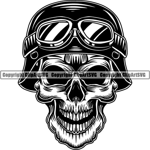 Motorcycle Bike Chopper Helmet Skull ClipArt SVG