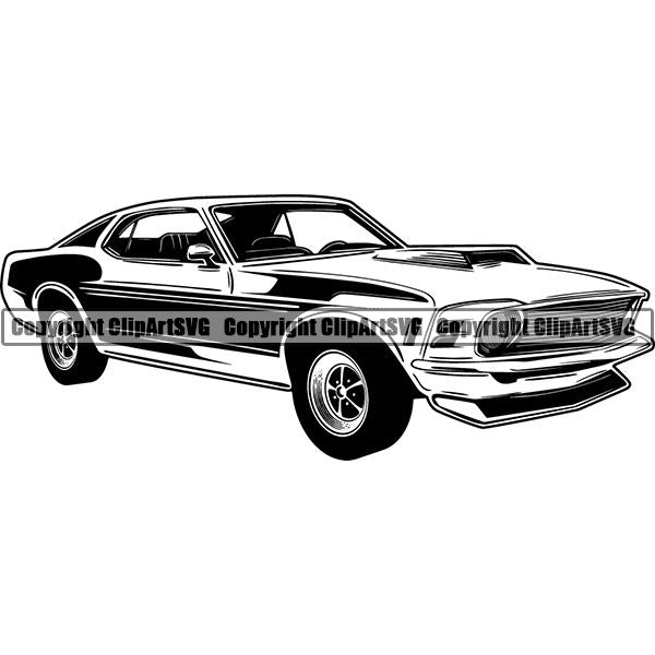 Sports Car 1970 Ford Mustang ClipArt SVG