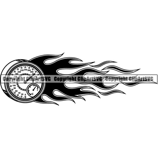 Sports Car Racing Fire ClipArt SVG