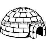 House Igloo Snow Ice Block Home ClipArt SVG