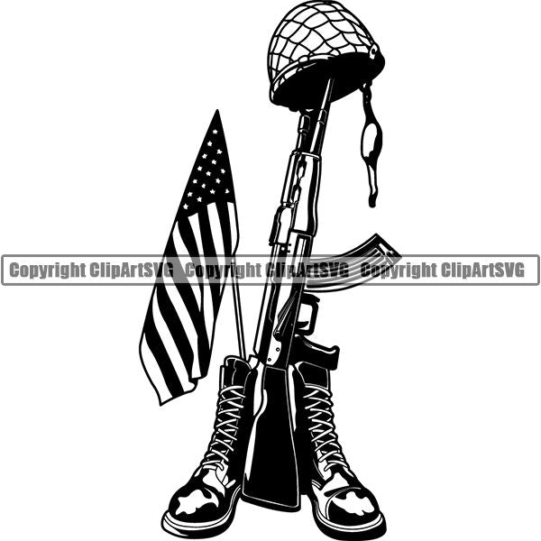 Military Weapon Soldier Army Fallen fcd ClipArt SVG