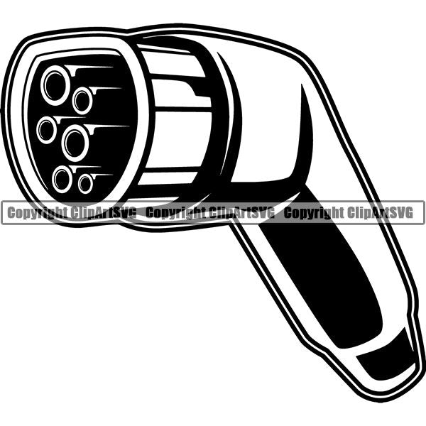 Sports Car Electric Plug Nozzle ClipArt SVG