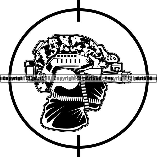 Military Weapon Soldier Night Vision ClipArt SVG
