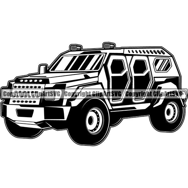 Military Weapon Vehicle Armored SUV ClipArt SVG