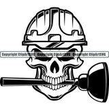 Construction Building Repair Service Skull Helmet Plunger ClipArt SVG