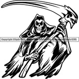 Skull Skeleton Grim Reaper Tattoo Tat ClipArt SVG