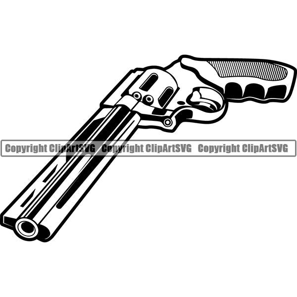 Military Weapon Gun Revolver ClipArt SVG