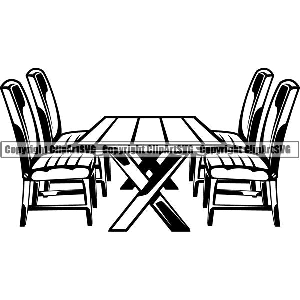 House Furniture Table Chairs ClipArt SVG