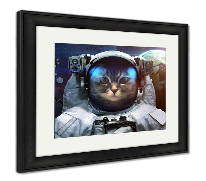 Framed Print, Astronaut Cat In Outer Space Spacewalk Elements Of This Image Furnished By Nasa - Fort-Smith-Deal-Mart