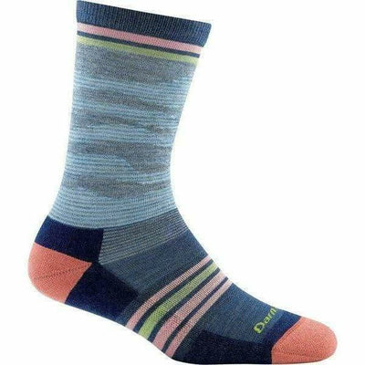 Darn Tough Waves Crew Light Cushion Womens Socks Small / Denim