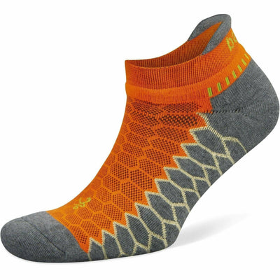Balega Silver No Show Socks - Small / Neon Orange/Grey Heather