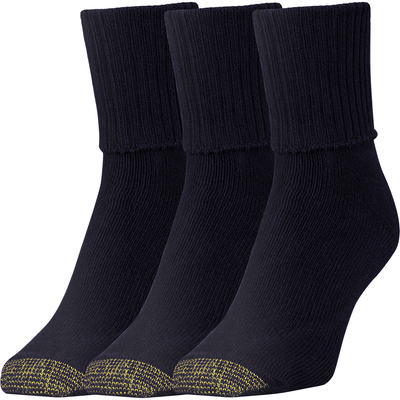 Gold Toe Womens Bermuda Turn Cuff Socks Regular / Black