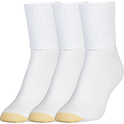 Gold Toe Womens Bermuda Turn Cuff Socks Regular / White