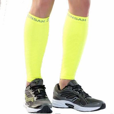 Zensah Compression Leg Sleeves - X-Small/Small / Neon Yellow