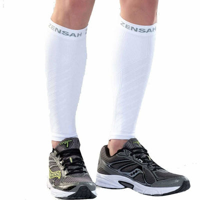 Zensah Compression Leg Sleeves Small/Medium / White