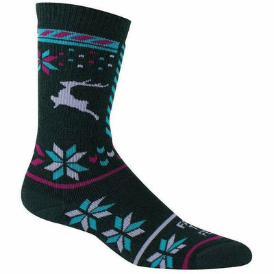 Farm to Feet Womens Hampton Snowflake Mismatch Crew Socks - Small / Green Gables