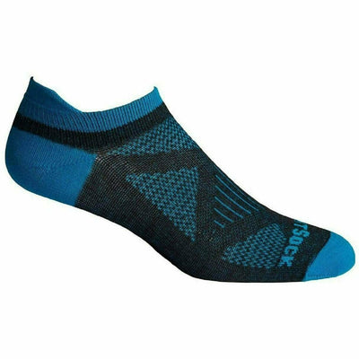 Wrightsock Womens Double-Layer Coolmesh II Lightweight Tab Socks Small / Black/Turquoise