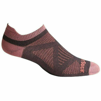 Wrightsock Womens Double-Layer Coolmesh II Lightweight Tab Socks Small / Ash/Dusty Rose