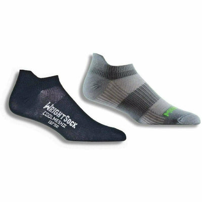 Wrightsock Double-Layer Coolmesh II Lightweight Tab Socks Small / Black/Steel Grey / 2-Pair Pack