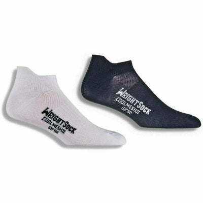 Wrightsock Double-Layer Coolmesh II Lightweight Tab Socks Small / White/Black / 2-Pair Pack