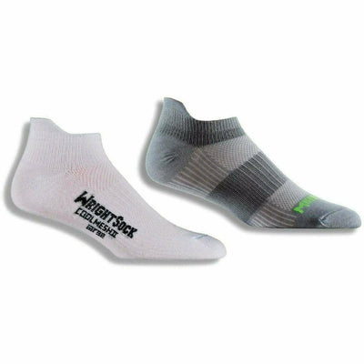 Wrightsock Double-Layer Coolmesh II Lightweight Tab Socks Small / White/Steel Grey / 2-Pair Pack