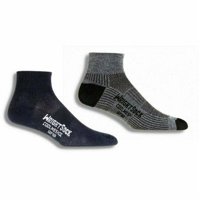 Wrightsock Double-Layer Coolmesh II Lightweight Quarter Socks Small / Black/Grey / 2-Pair Pack