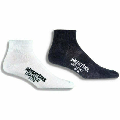 Wrightsock Double-Layer Coolmesh II Lightweight Quarter Socks Small / White/Black / 2-Pair Pack
