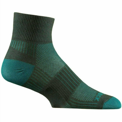 Wrightsock Double-Layer Coolmesh II Lightweight Quarter Socks Small / Ash/Turquoise / Single Pair