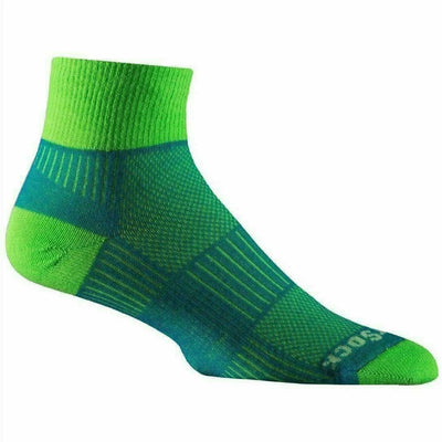 Wrightsock Double-Layer Coolmesh II Lightweight Quarter Socks Small / Blue/Green / Single Pair