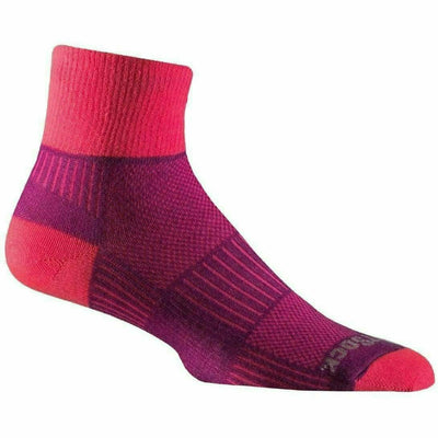 Wrightsock Double-Layer Coolmesh II Lightweight Quarter Socks Small / Plum/Pink / Single Pair