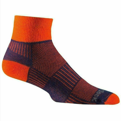Wrightsock Double-Layer Coolmesh II Lightweight Quarter Socks Small / Royal/Orange / Single Pair