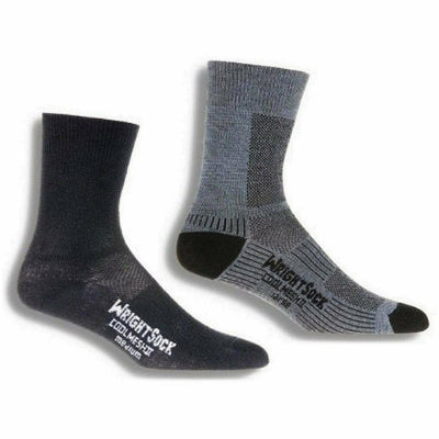 Wrightsock Double-Layer Coolmesh II Lightweight Crew Socks - Small / Black/Grey / 2-Pair Pack