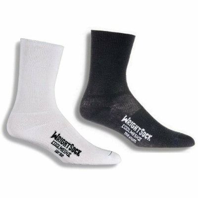 Wrightsock Double-Layer Coolmesh II Lightweight Crew Socks - Small / White/Black / 2-Pair Pack