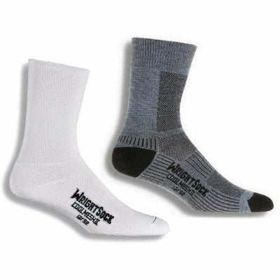 Wrightsock Double-Layer Coolmesh II Lightweight Crew Socks - Small / White/Grey / 2-Pair Pack