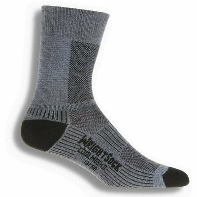 Wrightsock Double-Layer Coolmesh II Lightweight Crew Socks - Small / Grey / Single Pair