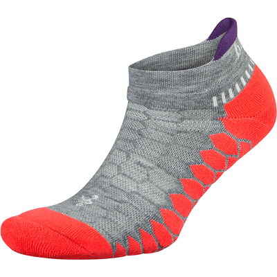 Balega Silver No Show Socks Small / Gray/Neon Coral