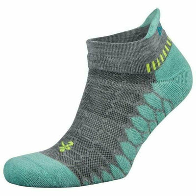 Balega Silver No Show Socks - Small / Mid Gray/Aqua