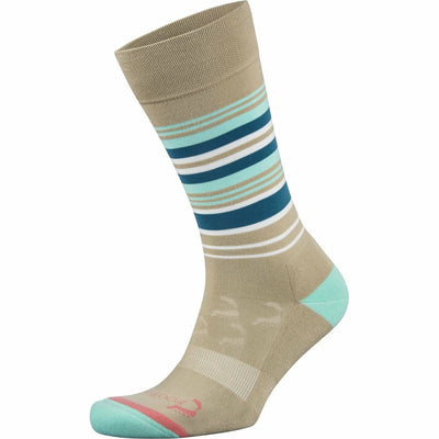 Foot Zen by Balega Womens Fashion Stripes Crew Socks - Small / Chino