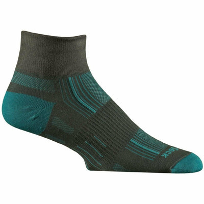 Wrightsock Stride Quarter Socks Small / Ash/Turquoise