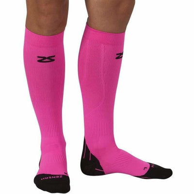 Zensah Tech+ Compression Socks - Small / Neon Pink