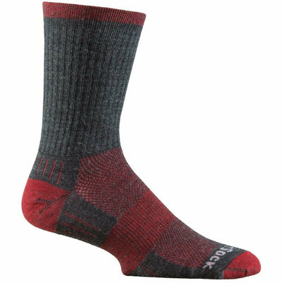 Wrightsock Merino Escape Midweight Crew Socks - Small / Grey/Fire